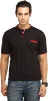 Fio Solid Men's Mandarin Collar Black, Red T-Shirt