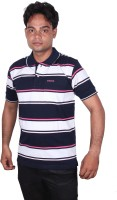 Norwood Striped Men's Polo Neck White, Dark Blue, Pink T-Shirt
