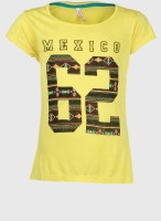 Poppers by Pantaloons Girls Graphic Print T Shirt(Yellow)