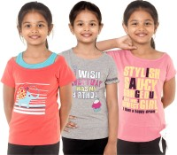 Menthol Girls Applique, Printed T Shirt(Multicolor)