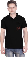Tantra Graphic Print Men's Polo Neck Black T-Shirt