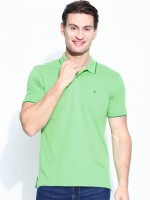 John Players Solid Men's Polo Neck Green T-Shirt