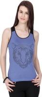 Alibi Embellished Womens Round Neck Blue T-Shirt