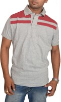 Aam Shopping Solid Men's Polo Neck Grey, Red T-Shirt