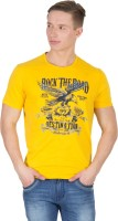 Wilkins & Tuscany Solid Men Round Neck Yellow T-Shirt