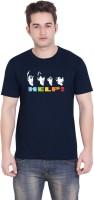 Tantra Graphic Print Men's Round Neck Dark Blue T-Shirt