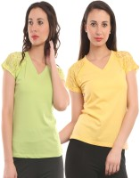 Ultra Fit Solid Women's V-neck Yellow, Green T-Shirt(Pack of 2)