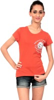 Texco Printed Womens Round Neck Red T-Shirt