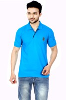 Gumality Solid Mens Polo Neck Blue T-Shirt