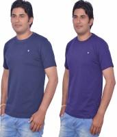 Leaf Solid Men's Round Neck Blue, Purple T-Shirt(Pack of 2)