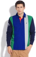Nautica Striped Mens Polo Neck Green, Blue T-Shirt
