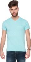 Mufti Solid Men V-neck Light Blue T-Shirt