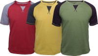 Poshuis Solid Men's Round Neck Red, Green, Yellow T-Shirt(Pack of 3)