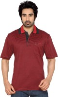 Thinc Striped Men's Polo Neck Red, Black T-Shirt