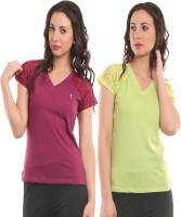 Ultra Fit Solid Women's V-neck Maroon, Green T-Shirt(Pack of 2)