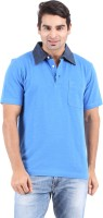 Furore Solid Men's Polo Neck Blue T-Shirt