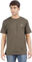 Crystal Solid Men's Round Neck Dark Green T-Shirt
