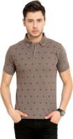 Elaborado Printed Mens Polo Neck Brown T-Shirt