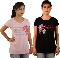 Tryd Printed Womens Round Neck Multicolor T-Shirt(Pack of 2)