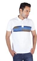 Swag Striped, Geometric Print Men's Polo Neck White T-Shirt