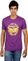 Red Line Graphic Print Men Round Neck Purple T-Shirt