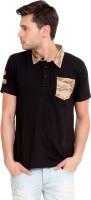 Elaborado Military Camouflage Mens Polo Neck Black T-Shirt