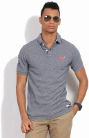 Superdry Solid Men's Polo Neck Grey, Blue T-Shirt