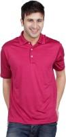 adidas Golf Striped Mens Polo Neck Pink T-Shirt