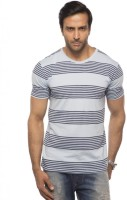 Cult Fiction Striped Mens Round Neck Grey T-Shirt