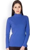 Hypernation Solid Women's Turtle Neck Blue T-Shirt
