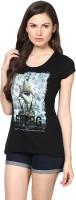 Fritzberg Printed Womens Round Neck Black T-Shirt