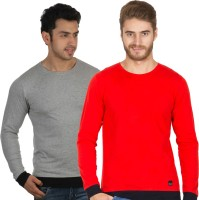 Rigo Solid Men's Round Neck Grey, Red T-Shirt(Pack of 2)