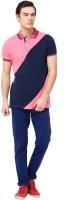 MONTEIL & MUNERO Striped Mens Polo Neck Pink T-Shirt