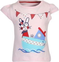 Chirpie Pie by Pantaloons Girls Applique, Graphic Print T Shirt(Pink)