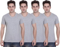 LUCfashion Solid Mens V-neck Grey T-Shirt(Pack of 4)