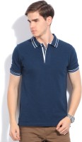 Van Heusen Solid Men's Polo Neck Blue T-Shirt