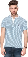 Mufti Striped Men's Henley Blue T-Shirt