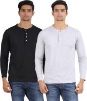 Arowana Solid Mens Henley Black, Grey T-Shirt(Pack of 2)