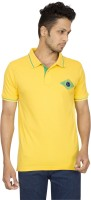 Red Line Solid Men Polo Neck Yellow T-Shirt