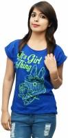 LondonHouze Printed Women's Round Neck Blue T-Shirt