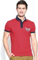 John Players Solid Men's Polo Neck Red T-Shirt
