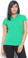 Gant Solid Womens Polo Neck Green T-Shirt