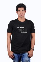 Heritage Design Printed Men's Round Neck Black T-Shirt