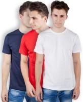 TOMO Solid Mens Round Neck Dark Blue, Red, White T-Shirt(Pack of 3)