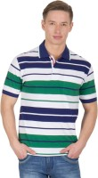 Wilkins & Tuscany Striped Men's Polo Neck Blue T-Shirt