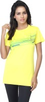 Aquamagica Striped Women's Round Neck Yellow T-Shirt