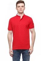 Fasnoya Printed Mens Mandarin Collar Red T-Shirt