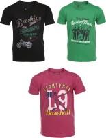 AJ Dezines Boys Graphic Print Cotton T Shirt(Multicolor, Pack of 3)