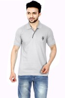 Gumality Solid Mens Polo Neck Grey T-Shirt