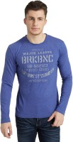 Breakbounce Printed Men's Round Neck Blue T-Shirt
